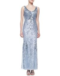 Aidan Mattox Beaded Gown with Sunburst Pattern - Lyst