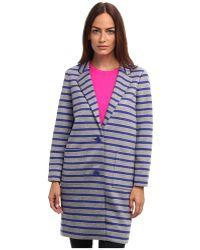 Kate Spade Oversize Scuba Stripe Coat - Lyst