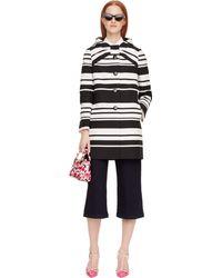Kate Spade Cape Stripe Etta Coat - Black