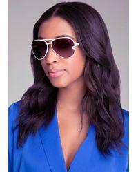Bebe - Daisy Aviator Sunglasses - Lyst