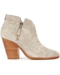 Rag & Bone Margot Grey Suede Ankle Boots - Natural