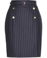 Alexander McQueen Pinstriped Wool Pencil Skirt - Lyst