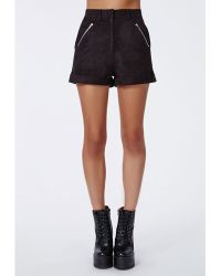 Missguided Rubie Suede Zip Detail Shorts Black - Lyst
