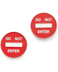 Moschino Do Not Enter Clip On Earrings - Red