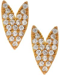Tai - Gold-plated Crystal Heart Stud Earrings - Lyst