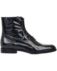 Jil Sander Navy Patent Leather Ankle Boots - Lyst