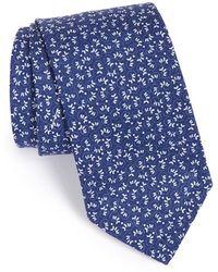 Maker & Company Floral Cotton & Silk Tie - Blue