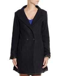 Lot78 - Leather-trimmed Wool-blend Coat - Lyst