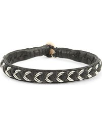 Maria Rudman - Leather And Embroidered Pewter Bracelet - Lyst