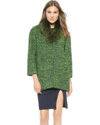 Alice + Olivia Alice  Olivia Fur Collar Coat - Emerald - Lyst
