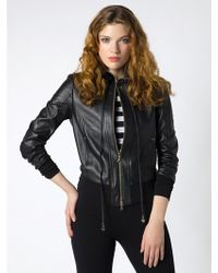 Patrizia Pepe Leather Jacket With Knitted Inserts - Lyst