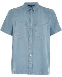River Island Light Wash Boxy Denim Shirt - Lyst