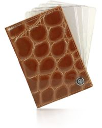 Giorgio Fedon - Spiga Brown Croco Stamped Leather Business Card Holder - Lyst