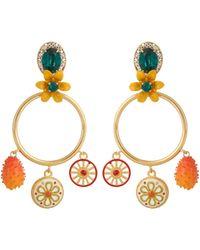 Dolce & Gabbana | Embellished Charms Hoop Earrings | Lyst