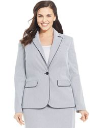 Jones New York Signature Plus Size Julie Seersucker One-Button Jacket blue - Lyst