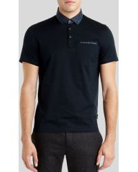 Ted Baker Vinchey Check Woven Collar Polo - Lyst