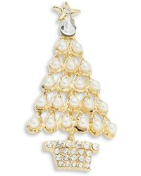 R.j. Graziano Pearl And Crystal Tree Pin - White