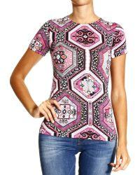 Emilio Pucci T-shirt Short Sleeve Zip Jersey Print Suzani - Lyst