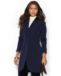 Lauren by Ralph Lauren Blue Wool-blend Coat - Lyst