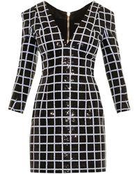 Balmain Sequin-Grid Dress - Lyst