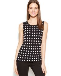 Calvin Klein Sleeveless Printed Sweater Shell - Lyst