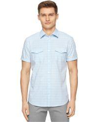 Calvin Klein Multi-Check Shirt blue - Lyst