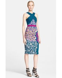 Peter Pilotto Print Cutaway Sheath Dress - Lyst