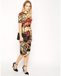 Asos Wiggle Dress in Texture with Winter Floral Print - Lyst