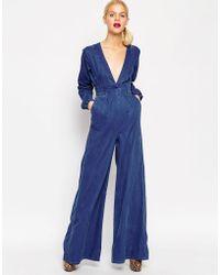 ASOS | Denim Bianca Premium Jumpsuit | Lyst