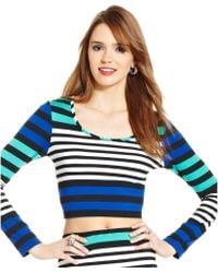 Macy's - Juniors Striped Cropped Top - Lyst