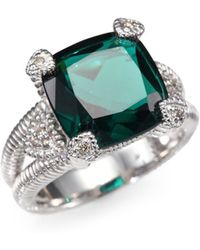 Judith Ripka Diamond Faceted Cushion Sterling Silver Split Shank Ring - Lyst