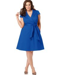 Spense Plus Size Short-sleeve Wrap Dress - Lyst