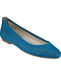 French Sole League Ballet Flat Turquoise Suede - Lyst