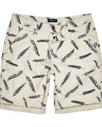 River Island Ecru Feather Print Chino Shorts - Lyst