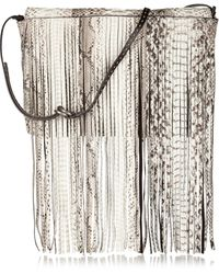 Michael Kors Joni Fringed Python and Suede Clutch - Lyst