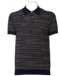 Jil Sander Black Cotton Polo Shirt With Strips black - Lyst