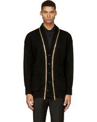 Alexander McQueen Black Wool Cashmere Gold Zip Overlong Cardigan - Lyst