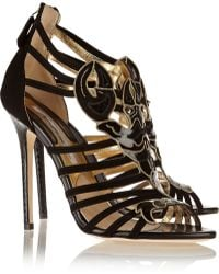 Brian Atwood Scorpio Suede and Elaphe Sandals - Lyst