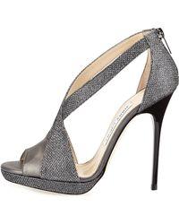 Jimmy Choo Vision Glittery Lamé Platform Sandal - Lyst