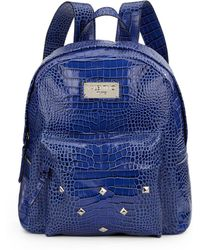 Valentino Diego Croc-Embossed Studded Leather Backpack - Lyst