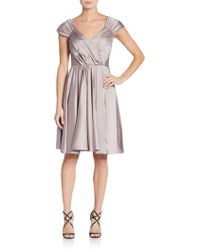 Vera Wang | Ruched Cocktail Dress | Lyst