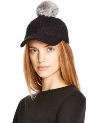 August Accessories - Packable Bouclé Baseball Cap With Rabbit Fur Pom-pom - Lyst