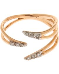 Kismet by Milka - Rose Gold White Diamond Three Arm Pinky Ring - Lyst