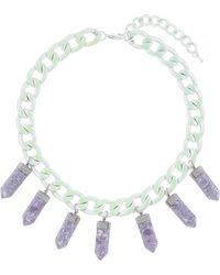Topshop Purple Semi Precious Necklace - Lyst