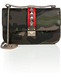 Valentino Leather Camo Print Studded Medium Shoulder Bag - Lyst