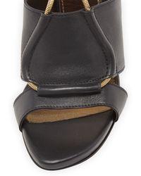 Lanvin Leather Chainstrap Blockheel Sandal Black - Lyst