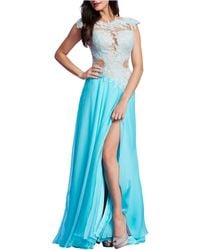 Mac Duggal - Embellished-Bodice Illusion Gown - Lyst
