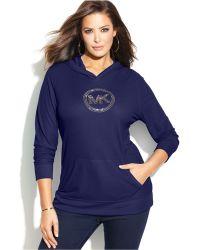 Michael Kors Michael Plus Waffle-Knit Hooded Logo Tee - Lyst