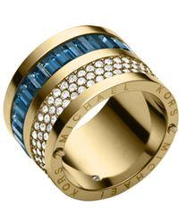 Michael Kors Pavé-embellished Gold-tone Baguette Barrel Ring - Lyst
