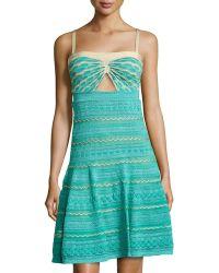 M Missoni Cutout Square-Neck Dress - Lyst